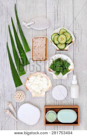 Aloe vera skincare including plant stems, cucumber, honey, yoghurt, moisturiser, facial cream and exfoliating salt scrub. Health concept beneficial for sunburn, psoriasis, eczema and acne.   poster