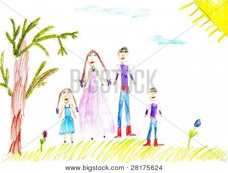 Children's paint family in summer nature to background