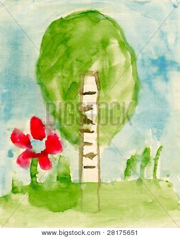 Children's paint summer nature