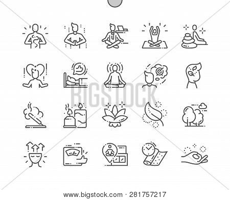 Meditation And Spiritual Practices Well-crafted Pixel Perfect Vector Thin Line Icons 30 2x Grid For
