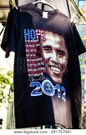 November 2, 2012 - Washington Dc: A Barack Obama For President T-shirt At A Gift Shop Is For Sale Du
