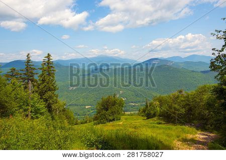White Mountains And Mount Washington In Summer, From Summit Of Attitash Mountain, Bartlett, New Hamp