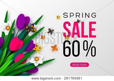 Spring Sale Banner With Paper Cut Tulips, Narcissus And Butterfly. Template For Banners, Flyers, Pos