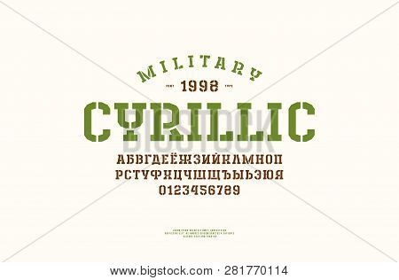 Cyrillic Stencil-plate Slab Serif Font In The Sport Style. Letters And Numbers For Logo And Title De