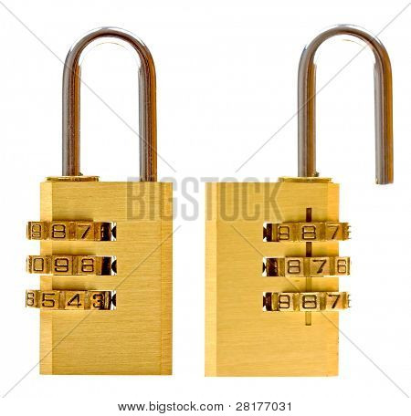 Close-up combination padlock (closed & open) isolated on white background