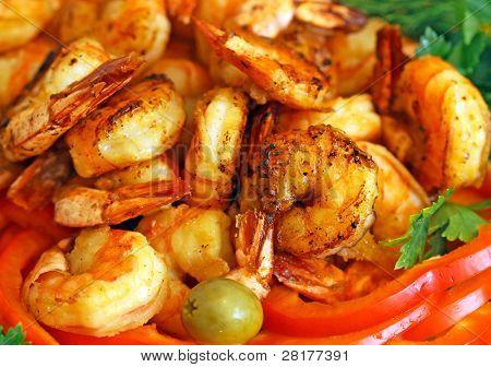 Fresh tiger shrimps to background