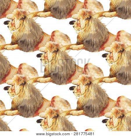 Seamless Pattern With Watercolor Image Of Lion. Good Design For Wrapping Paper, Textile, Scrap Booki
