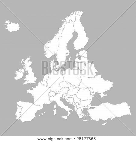 Europe Blank Map With Countries. Europe White Map Isolated On Grey Background. Vector Illustration