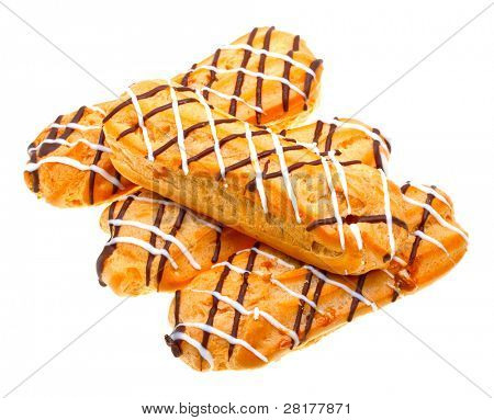 Eclairs dessert isolated on white background