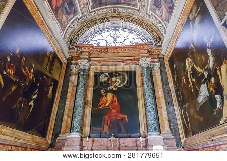 Rome, Italy - March 22, 2018: Church Of St. Louis Of The French,  Contarelli Chapel Contains A Cycle
