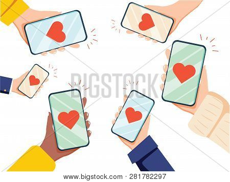 Valentine Day Gift Card Holiday Love Hands Hold Cell Smart Phone With Hearts. Social Network Communi