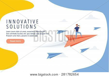 Business Innovative Solutions Website Design. Business Research, Modern Vector Web Banner. Idea, Goa