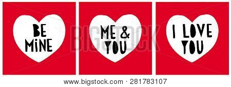Funny Abstract Valentines Day Vector Cards. Set Of Cute Lovely Illustration With White Heart On A Re