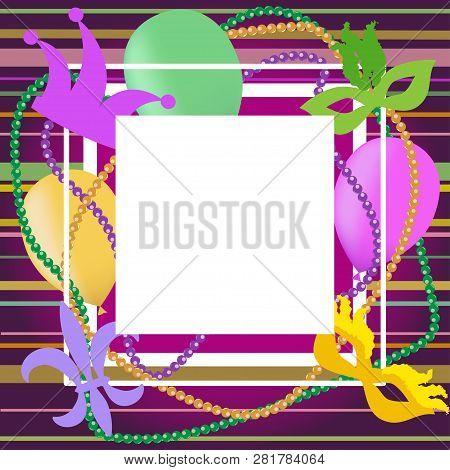 Frame Template For Mardi Gras. Vector Illustration