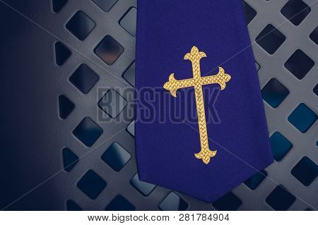Purple Fabric Stole In Confessional In Church. Faith And Religion