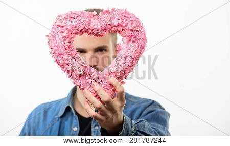 Hipster Hold Heart White Background. Love And Romantic Feelings Concept. Man With Beard Celebrate Va