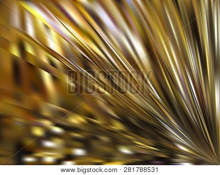 Vector Gold Metal Effect. Abstract Background With Iridescent Mesh Gradient. Colorful Shades. Visual