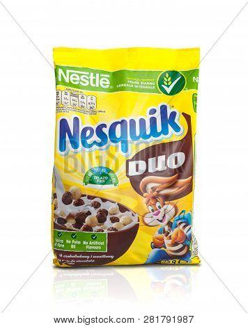Chisinau, Moldova - February 2, 2019: Nestle Nesquik Breakfast Cereal For Breakfast. Isolated On Whi