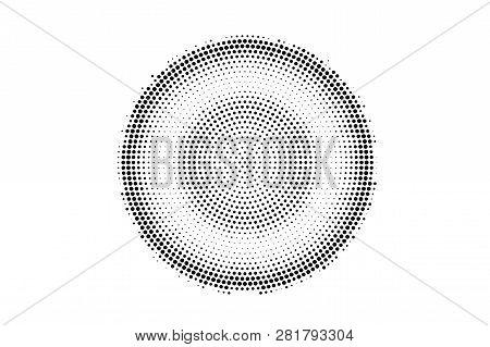 Black On White Rough Halftone Texture. Centered Dotwork Gradient. Dotted Vector Background. Monochro