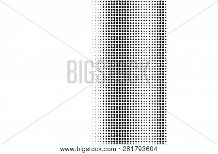 Black On White Contrast Halftone Texture. Vertical Dotwork Gradient. Dotted Vector Background. Monoc