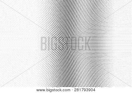 Black On White Round Halftone Texture. Vertical Dotwork Gradient. Dotted Vector Background. Monochro