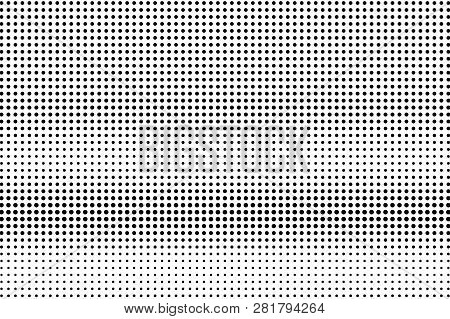 Black On White Regular Halftone Texture. Horizontal Dotwork Gradient. Dotted Vector Background. Mono