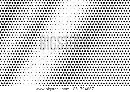 Black On White Contrast Halftone Texture. Diagonal Dotwork Gradient. Rough Dotted Vector Background.