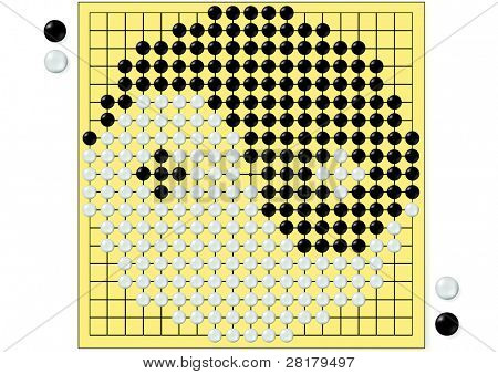 Zeichnung des Tai Chi in chinesischen gehen Brettspiel isoliert auf weiß background.tai Chi ist ein chinesisches symbol
