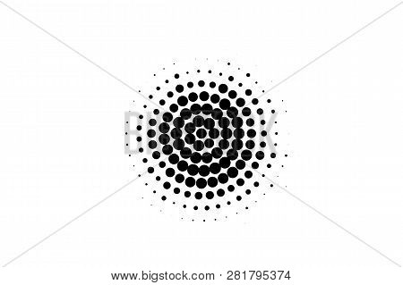 Black On White Oversized Halftone Texture. Round Dotwork Gradient. Distressed Dotted Vector Backgrou