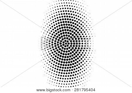 Black On White Oval Halftone Texture. Rough Dotwork Gradient. Distressed Dotted Vector Background. M