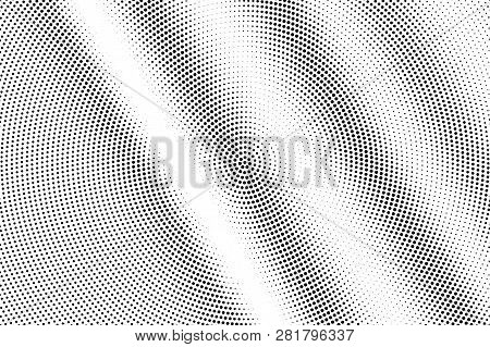 Black On White Micro Halftone Texture. Rough Dotwork Gradient. Distressed Dotted Vector Background.