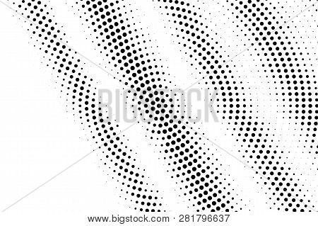 Black On White Grungy Halftone Texture. Diagonal Dotwork Gradient. Distressed Dotted Vector Backgrou