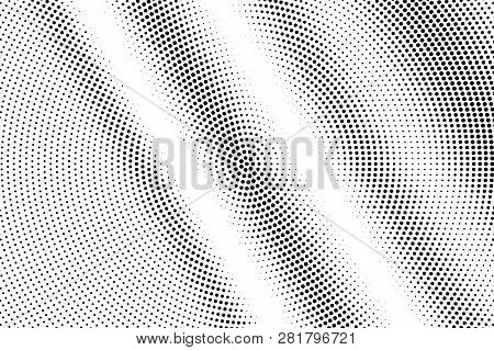 Black On White Bright Halftone Texture. Diagonal Dotwork Gradient. Distressed Dotted Vector Backgrou