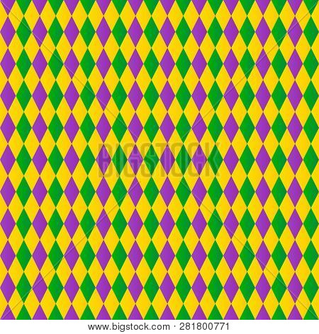 Traditional Mardi Gras Background. Colorful Harlequin Seamless Pattern. Green, Purple And Yellow Geo