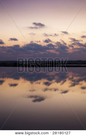 Sunset Reflecting Clouds In The Salt Bacuta