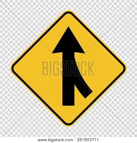 symbol  Lanes merging right sign on transparent background poster