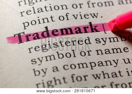 Fake Dictionary, Dictionary Definition Of The Word Trademark. Including Key Descriptive Words.