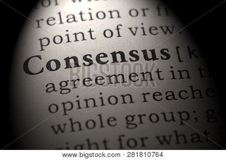 Fake Dictionary, Dictionary Definition Of The Word Consensus. Including Key Descriptive Words.