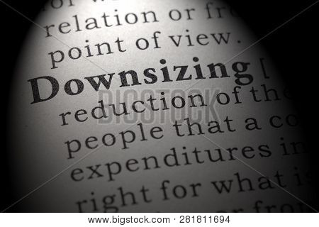 Fake Dictionary, Dictionary Definition Of The Word Downsizing. Including Key Descriptive Words.