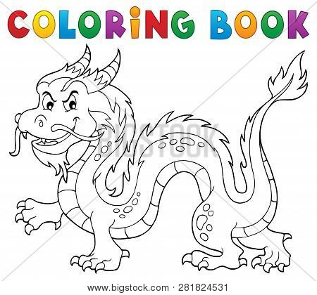 Coloring Book Chinese Dragon Theme 1 - Eps10 Vector Picture Illustration.