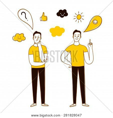 Doodle Man Thinking And Having An Idea. Question And Answer Cartoon Illustration For Your Design.