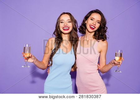 Close Up Portrait Two Stunning Curly Wavy She Her Lady Bright Lipstick White Teeth Arms Hands Hold G