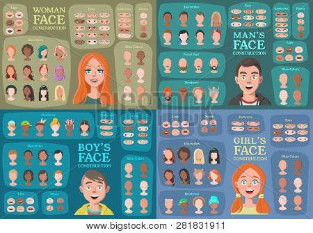 Woman, Man, Girl, Boy Character Constructors. From Housewife To Hipster. Cartoon Woman Face Parts Cr