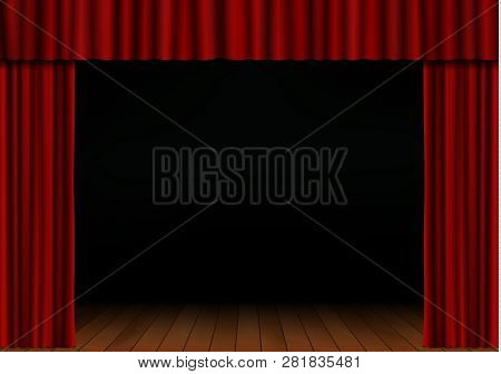 Red Open Curtain With Spotlight And Wood Floor In Theater. Velvet Fabric Cinema Curtain Vector. Open