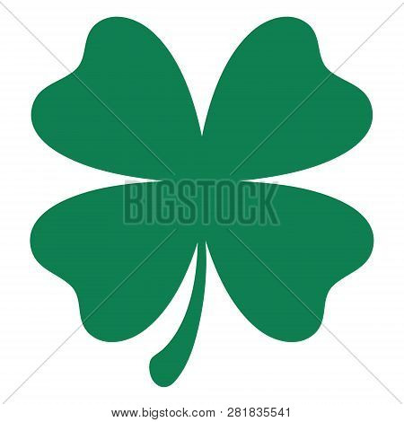 Green Shamrock Clover Vector Icon. St Patrick Day Symbol, Leprechaun Leaf Sign. Shamrock Clover Isol