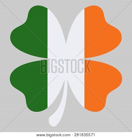 Shamrock Clover Vector Icon In Style Ireland Flag Color. St Patrick Day Symbol, Leprechaun Leaf Sign