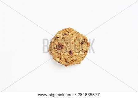 Oatmeal Cookie Or Oat Biscuit With Raisins And Nuts - Top View On White Background