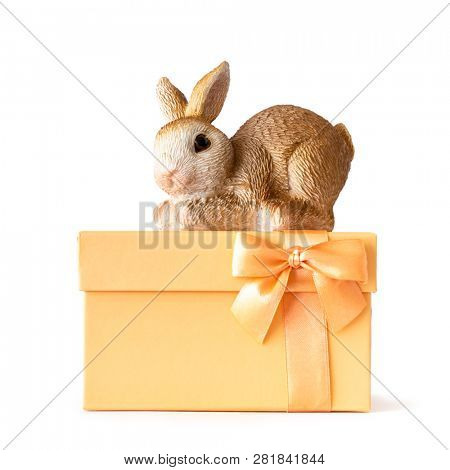 An image of an easter bunny on an orange gift box