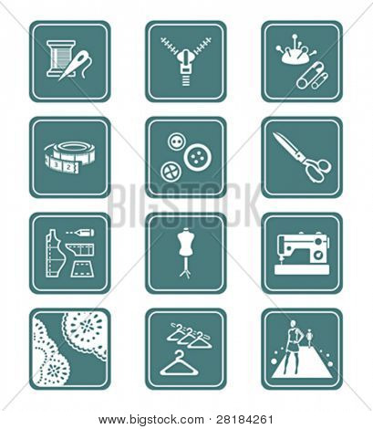 Fashion industry tools and objects teal contour icon-set
