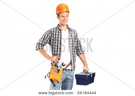 A confident and smiling manual worker holding a wrench and a toolbox isolated on white background